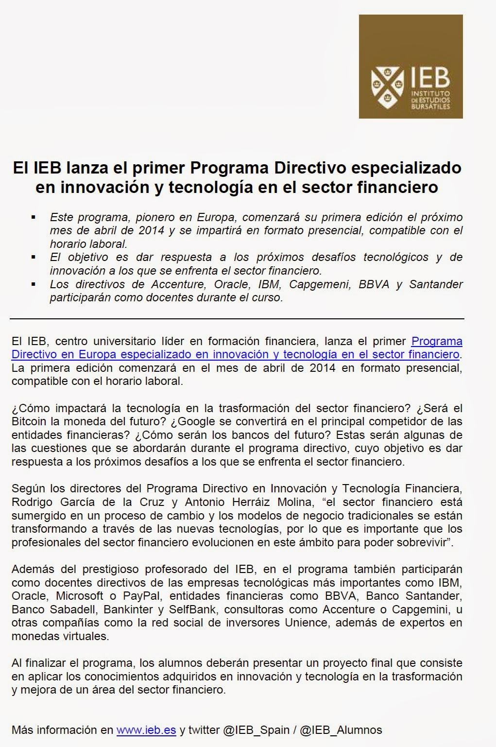 IEBPrimerProgramaDirectivoInnovacionEnElSectorFinanciero