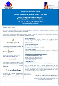 EuropeanBusinessDrinkHotelInterContinentalMadridInvitacion12Abril2016