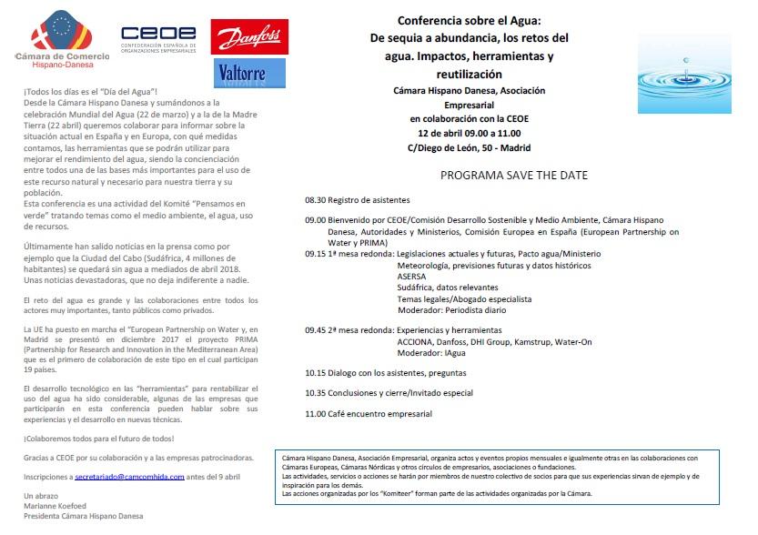 CamaraDanesaInvitaciónConferenciaAguaSaveTheDate12Abril2018