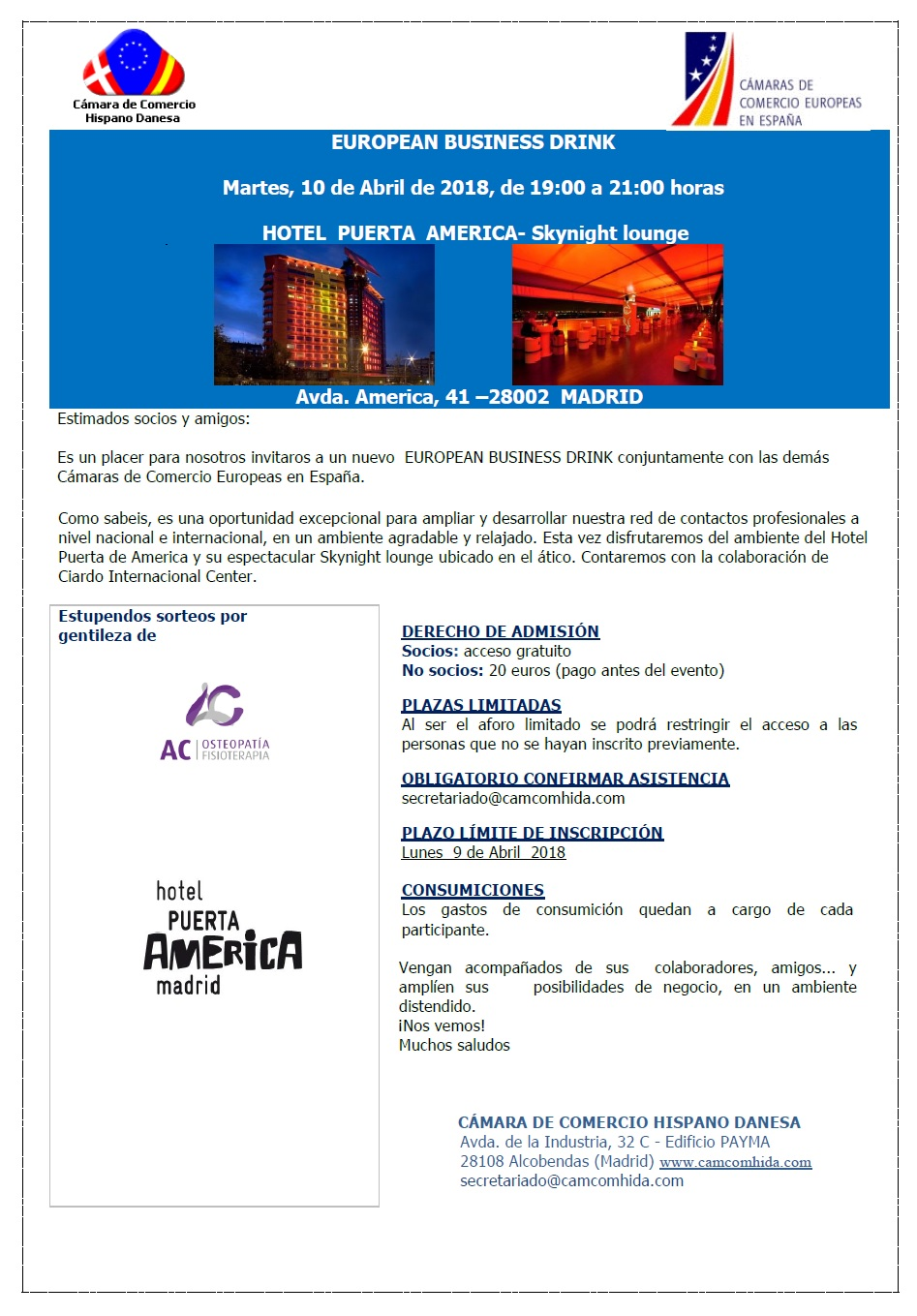 CamarasEuropeasEuropeanBusinessDrinkInvitacion10Abril2018